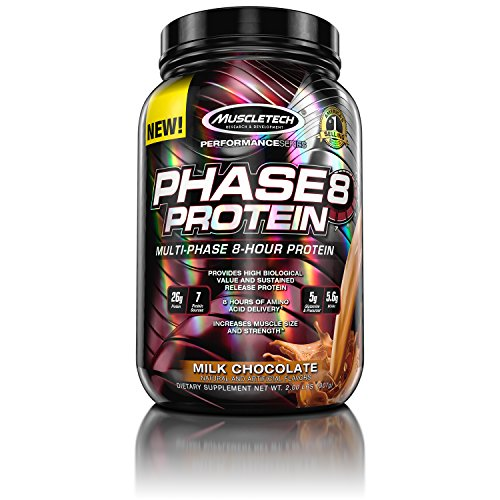 MuscleTech Phase8 Protein Powder, Sustained Release 8-Hour Protein Shake, Milk Chocolate, 2 Pounds (907g)