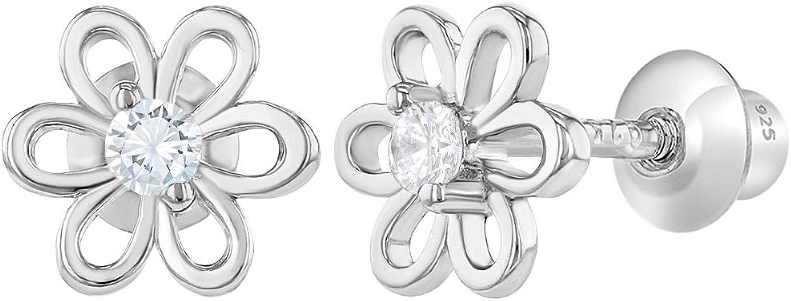 f748d5413 925 Sterling Silver Clear CZ Little Flower Screw Back Earrings for Girls