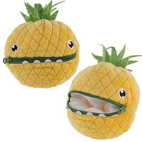 Hallmark (2 Pack) 7 Inch Plush Stuffed Zip Carrying Cases Organizer For Kids Pineapple Pouch (Felt Plush Stuffed Animal)