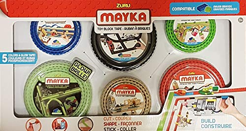 MAYKA Zuru Block Tape ( 6 - Pack) Glow in The Dark - Black Road - Green - Red - Blue - Sand (Compatible with Lego)