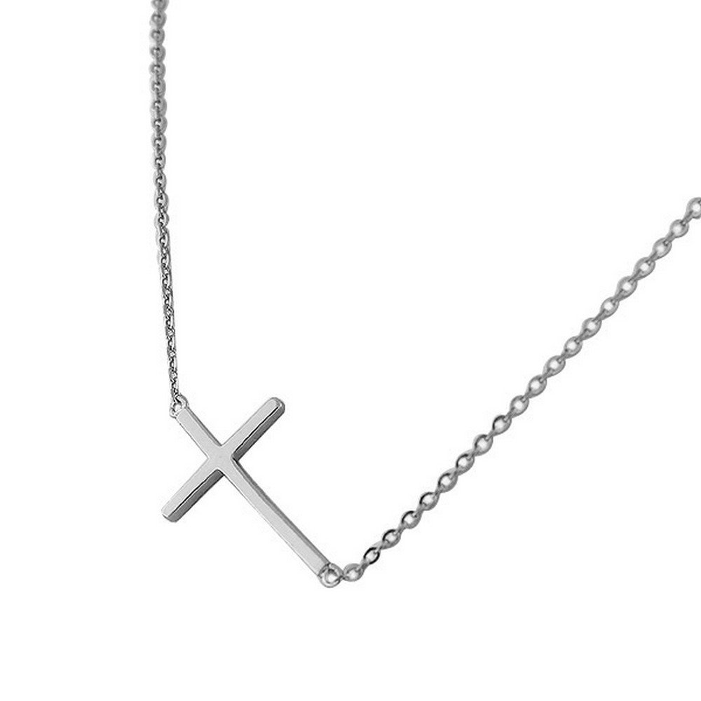 925 Sterling Silver Sideways Cross Pendant Necklace