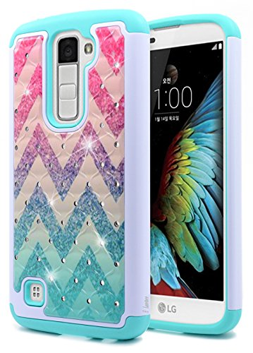 LG K10 Case, LG Premier LTE L62VL L61AL Case, NageBee [Hybrid Protective] Armor Soft Silicone Cover with [Studded Rhinestone Bling] Design Diamond Hard Case For LG K10 / Premier LTE L62VL L61AL- Wave