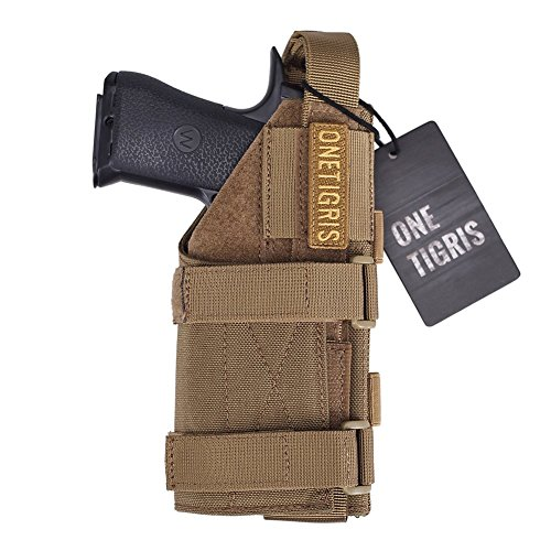 OneTigris Minimalist Pistol Holster for 1911 45 92 96 Glock (Coyote Brown) - Molle Drop Leg Holster Panel