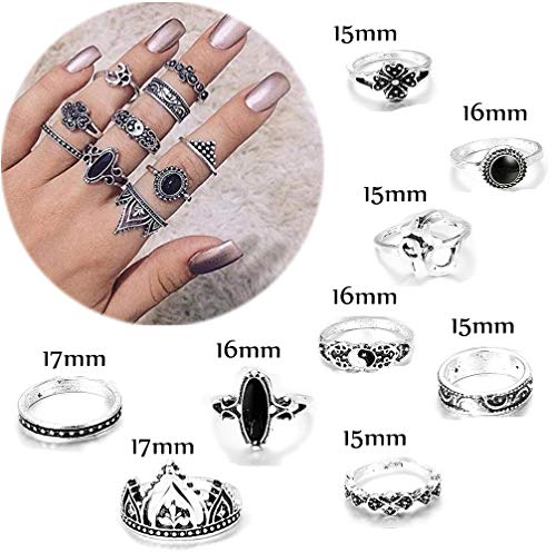 FIBO STEEL 42-63 Pcs Vintage Knuckle Rings for Women Girls Stackable Midi Finger Ring Set (A1: 42 Pcs a Set) by FIBO STEEL (Image #3)