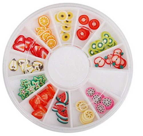 120PcsSpruce Popular 3D Random Mixed Fimo Nail Art Wheel Polymer Clay Slice Salon Supplies Tool Kit Full Design Type Fruit - Collection Barcelona Spice