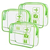 3pcs Lermende Clear Toiletry Bag TSA Approved Travel Cosmetic Makeup Bags Luggage Carry On Airport Airline Compliant Bags (Green)