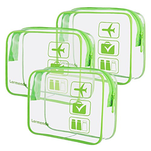 3pcs Lermende Clear Toiletry Bag TSA Approved Travel Luggage Carry On Airport Airline Compliant Bags - Green ()