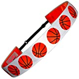 "Non Slip Adjustable Headband ""Basketball"" Girls Basketball Headband (Color Options) by RazzyRoo Headbands (White)"