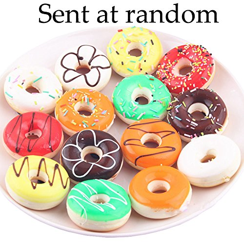 Conjugal Bliss 8PCS 1.97 Inch Artificial Food Cake Bread Doughnut Plastic Model Arrangement Toy Home Kitchen Hotel Party Wedding Decor Mobile Phone Hanging Decoration Photography (Nugget Pedestal)