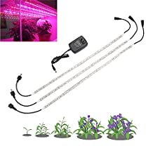 Umiwe LED Grow Light Strip Plant Light with 2A Power Adapter, 3 PCS Red Blue 5:1 Strip Grow Light Lamp for Indoor Plants Hydroponics Aquatic Greenhouse (19.7''/Strip)