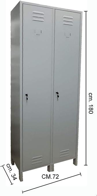 68x34x180h cm Armadio Armadietto in metallo Spogliatoio 2 Posti Salva Spazio Profondit/à 34 Dim
