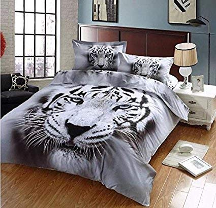 (Luckey1 Tiger Print 3D Bedding Sets Queen Size, Polyester Queen Duvet Covers Bedding Sets 4 Pieces, 1 Duvet Cover,1 Flat Sheet,2 Pillowcases, No Comforter (Queen, Gray Tiger))