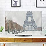 LCD TV dust Cover Customizable,Winter,Eiffel Tower Covered in Snow Outdoors Champ de Mars Tourist Attraction Paris France Decorative,Graph Customization Design Compatible 47'' TV
