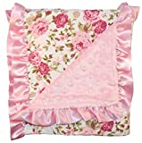 Unique Baby Trendy Blanket with Satin Ruffle Edges Vintage Floral Print White