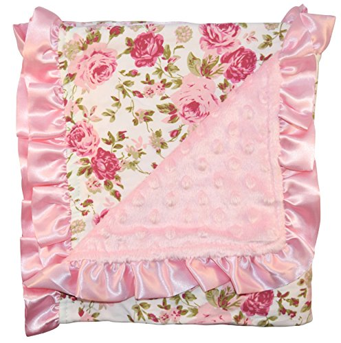 Unique Baby Trendy Blanket with Satin Ruffle Edges Vintage Floral Print - Satin Blanket Ruffle