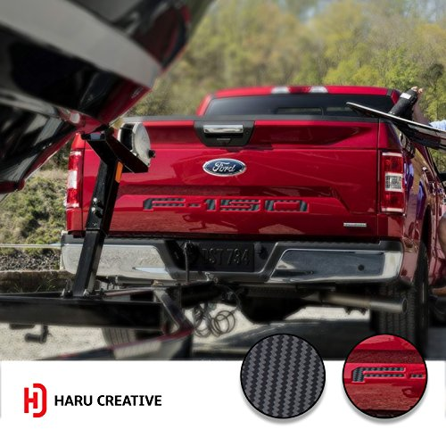 Haru Creative - 2018 Ford F150 Rear Tailgate Letter Insert Overlay Decal - Carbon Fiber Black
