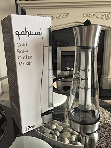 Qahwa Airtight Cold Brew Coffee and Iced Coffee Maker, Large 1 Quart Premium Glass Pitcher / Carafe with Removable Filter and Built In Coaster - Free Bonus Recipe eBook (Premium: Airtight)