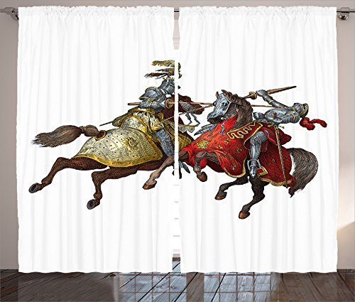 [Medieval Decor Curtains 2 Panel Set by Ambesonne, Middle Age Fighters Knights with Ancient Costume Renaissance Period Illustration Artwork, Living Room Bedroom Decor, 108W X 84L Inches,] (Romantic Time Period Costumes)