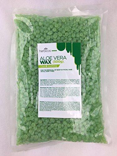 Huini Herbicos Body Hair Remover Hard Wax Beans Aloe Vera all skin - 17.64 oz (Aloe Vera Wax)