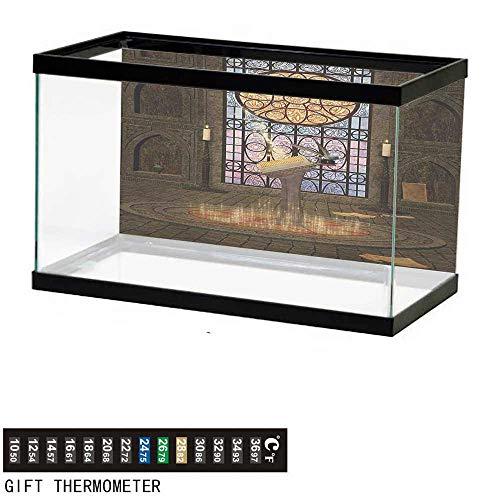"wwwhsl Aquarium Background,Gothic,Lectern on Pentagram Symbol Medieval Architecture Candlelight in Dark Altar,Olive Green Mustard Fish Tank Backdrop 36"" L X 20"" H"