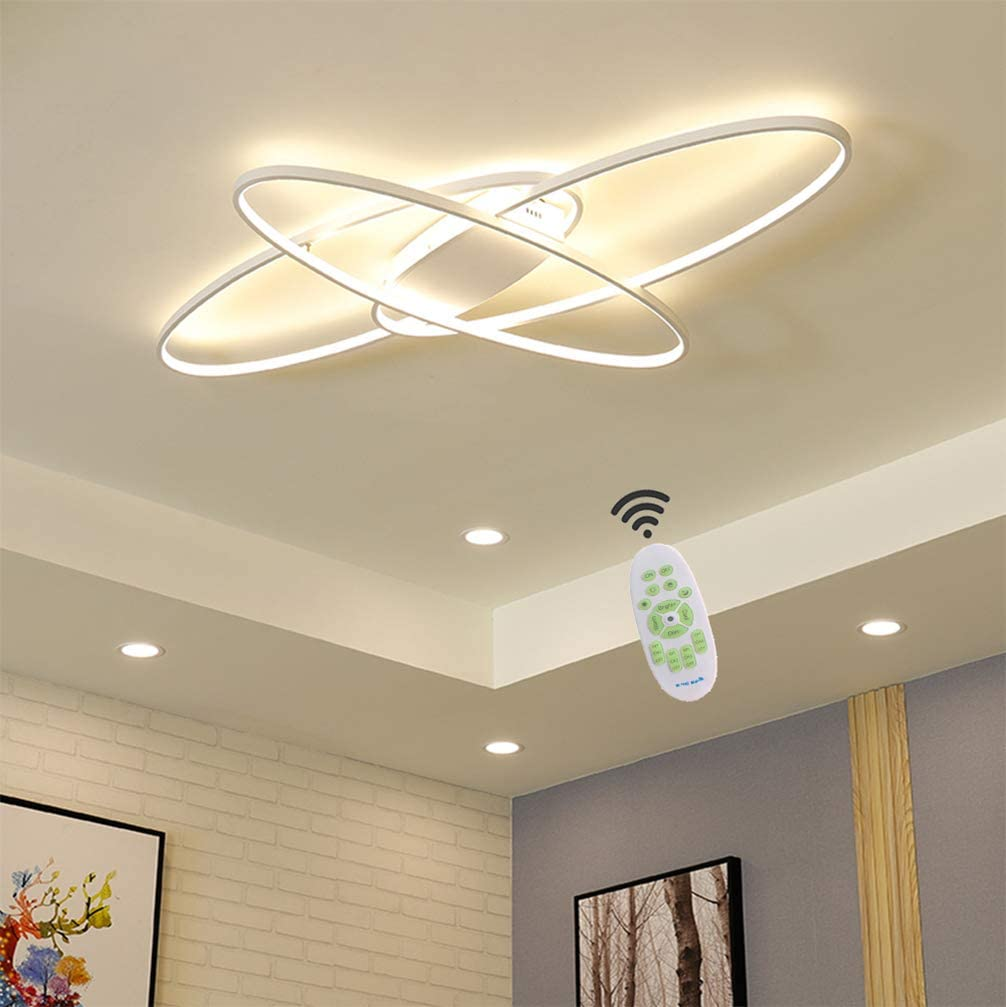 Living Room LED Ceiling Lights Dimmable Light Fixtures Ceiling Flush Mount  with Remote Control Ceiling Lighting, Modern Chic Oval Design Chandelier