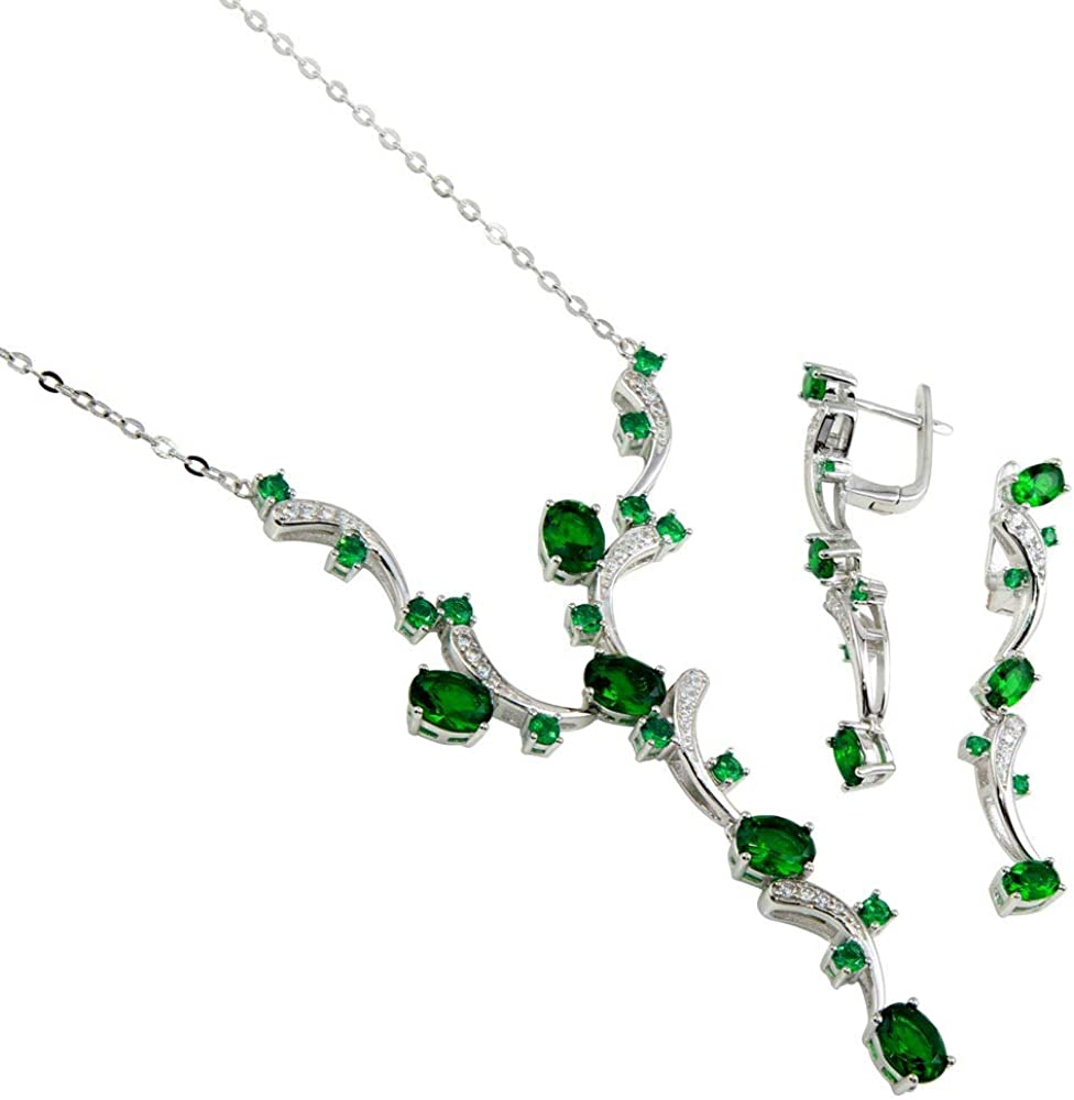CloseoutWarehouse Simulated Emerald Cubic Zirconia Necklace and Dangling Earring Set Sterling Silver
