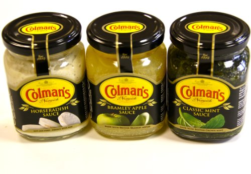 Colemans Roast meat Gourmet Combo from Great Britain Classic Mint Sauce, Horseradish Sauce and Bramley Apple Sauce. The perfect compliment to your traditional meat roasts. (Gourmet Snack Combo)