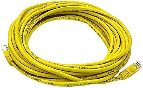 3 FT Yellow CAT5e Snagless Patch Cable 350 MHz Molded Booted RJ45 UTP Network 24 AWG Stranded Copper Male to Male RJ-45 Enhanced Category 5e High Speed Ethernet Data Computer Gaming Jumper