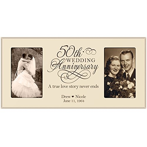 LifeSong Milestones 50th Anniversary Picture frame Gift Personalized 50th wedding Couples names and anniversary dates Golden 2 4x6 photos (Ivory)