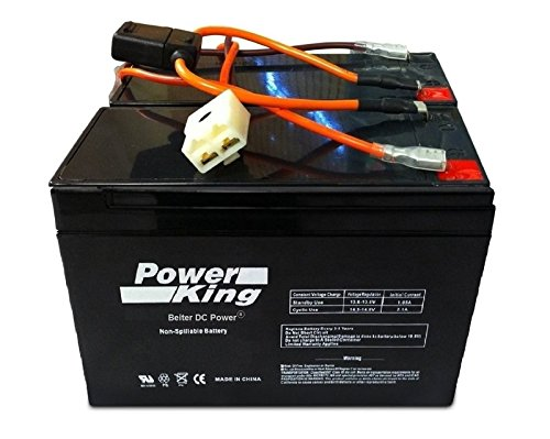 Razor 12 Volt 7Ah Electric Scooter Replacement Batteries Power King Brand High Performance - Set of 2 Includes New Wiring Harness (Replaces 6-DW-7)