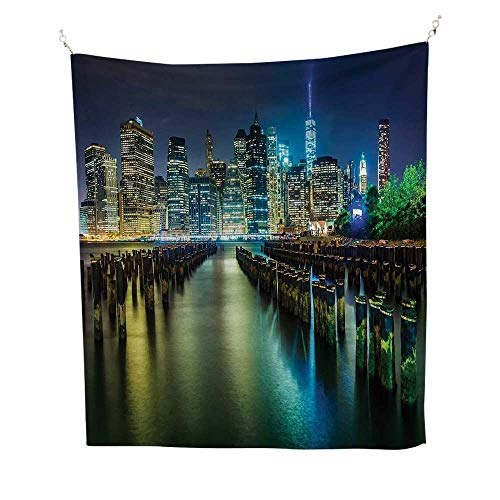 (New Yorkwall Tapestry for bedroomPier Pilings and Manhattan Skyline at Night Downtown Urban East River 51W x 60L inch Beach tapestryDark Blue Green Yellow)