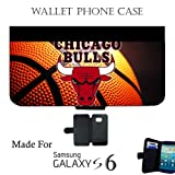 Bulls Basketball Wallet cell phone Case / Cover Fits Samsung Galaxy S6 Great Gift Idea Chicago