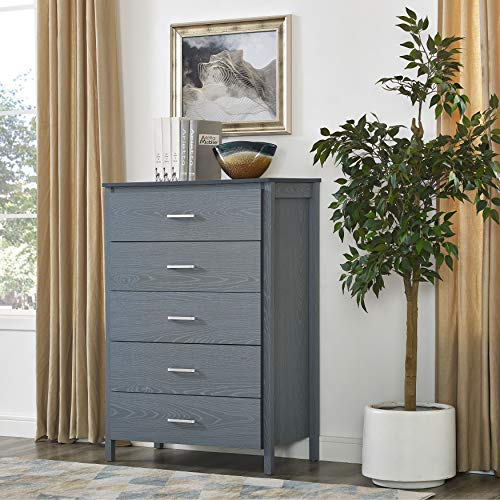 - Hudson Collection 5-Drawer Chest (Grey)
