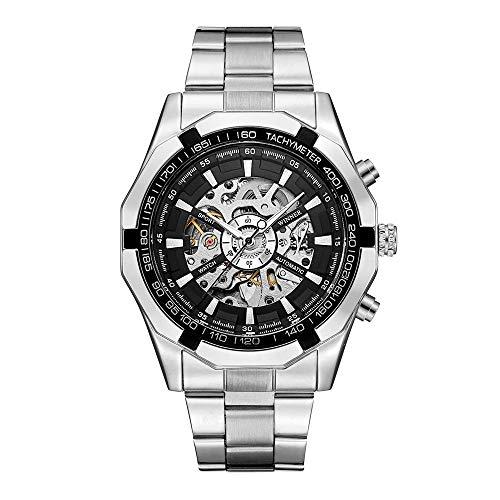 - Mechanical Watch Automatic Skeleton Self-Winding Watch for Mens Stainless Steel Waterproof Luminous
