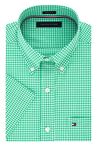 Tommy Hilfiger Men's Short Sleeve Button-Down Shirt, Cactus, 17.5