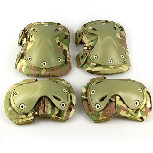 H World Shopping Airsoft Tactical Adjustable Combat Knee Elbow Protector Pads Set Biking Skate Multicam by H World Shopping