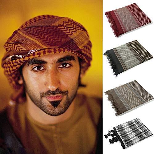 Muslim Shemagh Headscarf Men Cover Shawls Hijab Scarf Arabic Head Cover (Red)