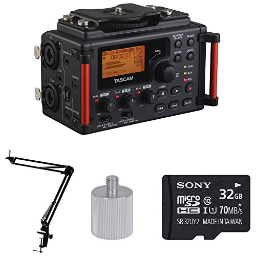 - Tascam DR-60DmkII Portable Digital Recorder w Knox Boom Arm Stand & 32 Gig Micro SD Card