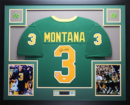 Joe Montana Autographed Green Notre Dame Jersey - Beautifully Matted and Framed - Hand Signed By Joe Montana and Certified Authentic by JSA COA - Includes Certificate of (Authentic Notre Dame Green Jersey)