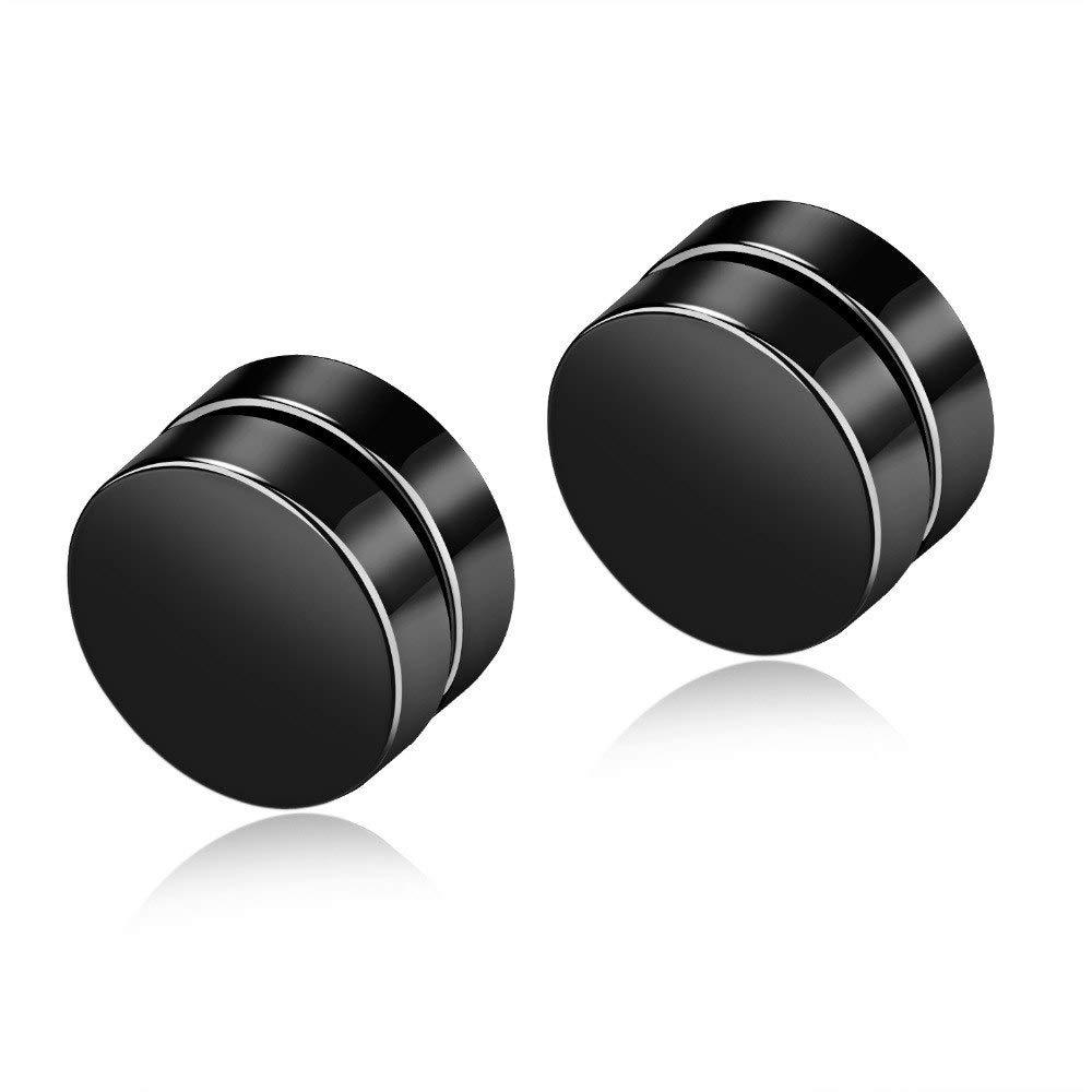 Stainless Steel Gold Black Color Magnetic Stud Earrings Mens Punk