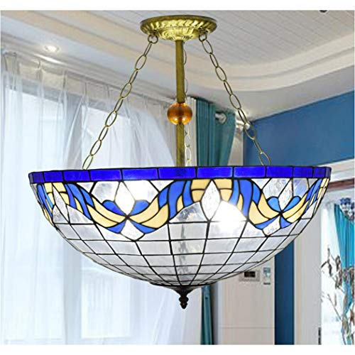 YJFFAN European Style Simple and Creative Blue Mediterranean Reverse Direction Hanging Lamps 22 Inch Tiffany Living Room Chandelier Restaurant Coffee Home -