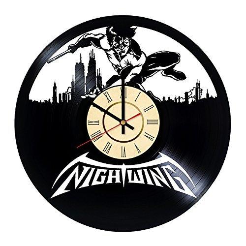 Fun Door Nightwing Vinyl Record Wall Clock - Get Unique Kitchen Room Wall Art décor - Gift Ideas for Sibling, Boyfriend, Girlfriend - Unique Comic Art Design]()