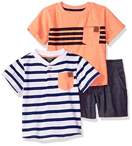 Baby Henley - American Hawk Baby Boys Henley, T-Shirt, and Short Set, Coral, 3/6 Months