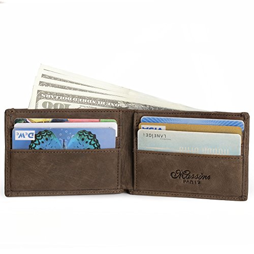 Teemzone Unisex Cowhide Vintage Money Clip Wallet Credit ...