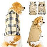Winter Dog Jackets Waterproof Windproof Reversible, Dog Coats for Cold Weather, Warm Plaid pet Sweaters for Medium XX-Large Size Dogs,Beige XXL