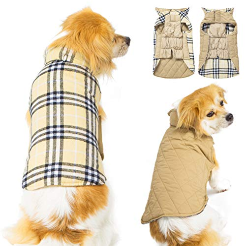 SuBleer Winter Dog Jacket for Cold Weather, Warm Doggie Coat Waterproof Windproof Reversible, Plaid Dog Vest Jackets for Small Dogs,Beige S