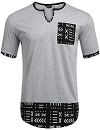 "<span class=""a-offscreen"">[Sponsored]</span>Mens Hipster Hip Hop Aztec Graphic Print Longline T-Shirt Stylish Designs V Neck Tee Shirt"