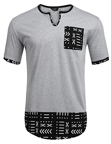Aztec Design - COOFANDY Mens Hipster Hip Hop Aztec Graphic Print Longline T-Shirt Stylish Designs V Neck Tee Shirt, Grey, Small