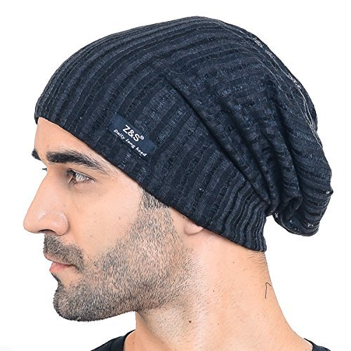 Men Slouch Hollow Beanie Thin Summer Cap Skullcap B018h (018s-Black)