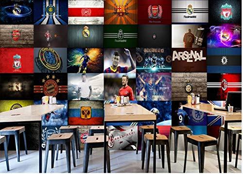 (3D Wallpaper Mural 3D Stereo Football Team Logo Master Ktv Bar Restaurant Background Wall Silk Cloth 400x280cm)